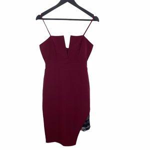 Charlotte Russe Maroon Bodycon Dress Midi Small